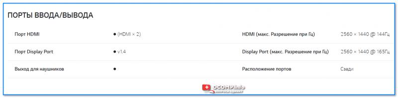 Скрин с сайта LG — характеристики монитора (спецификация)